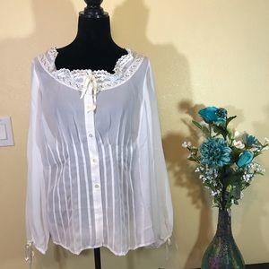 Venezia White Sheer Long Sleeves Blouse
